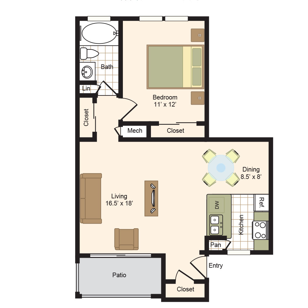 Floor Plan B | Colony Oaks Apartment in Bellaire Houston
