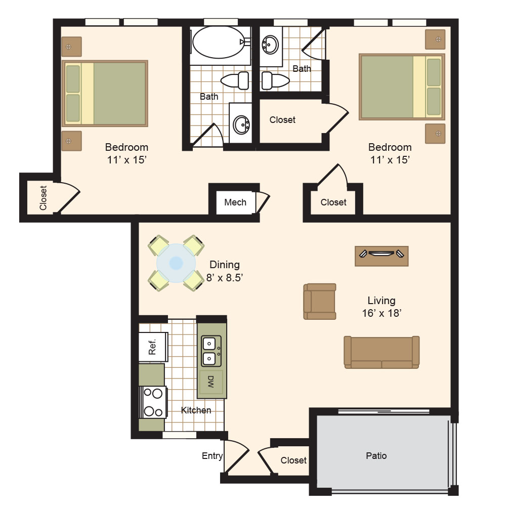 Floor Plan E | Colony Oaks Bellaire Appartments